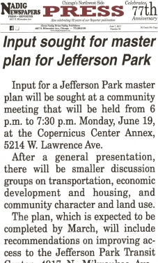 Newspaper Article: Input sought for master plan for Jefferson Park 6/7/17